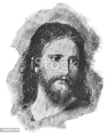 Christ's Image (Christ at 33) by Heinrich Hofmann. Vintage halftone circa late 19th century.