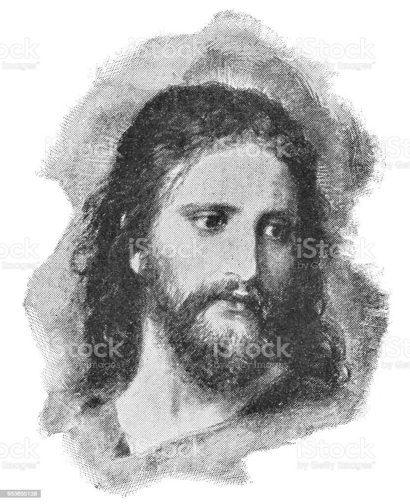 Christ's Image by Heinrich Hofmann - 19th Century vector art illustration