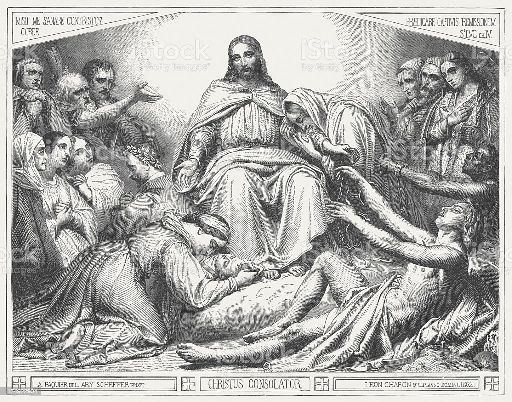 Christus Consolator (1862) by Ary Scheffer, wood engraving, published 1880 royalty-free stock vector art