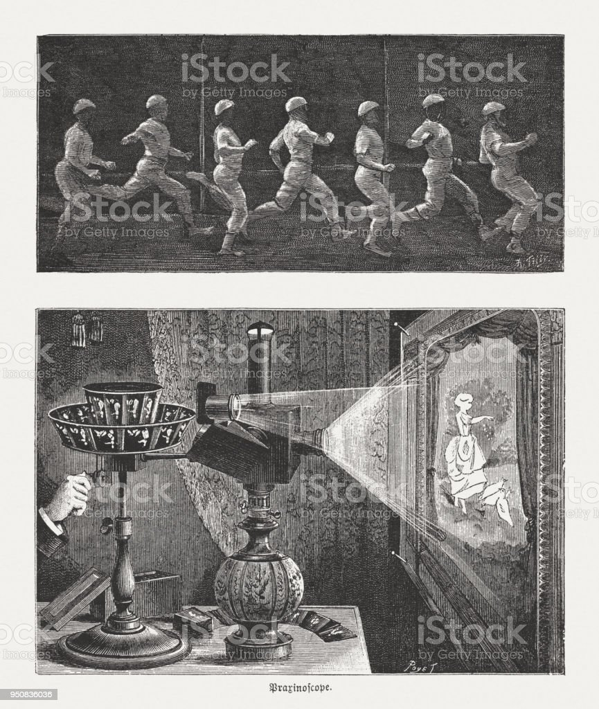 Chronophotograph (running man) a and Praxinoscope, wood engravings, published 1888 vector art illustration