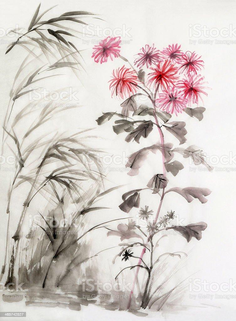 Chrysanthemum and bamboo royalty-free chrysanthemum and bamboo stock vector art & more images of art
