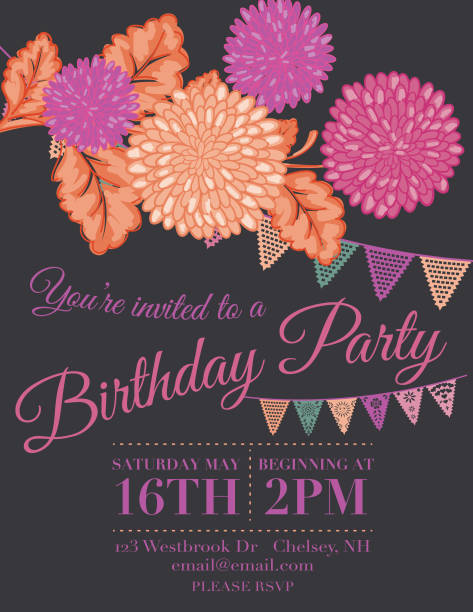 Chrysanthemum Papel Picado Flags Birthday Invitation Template Vector Art Illustration