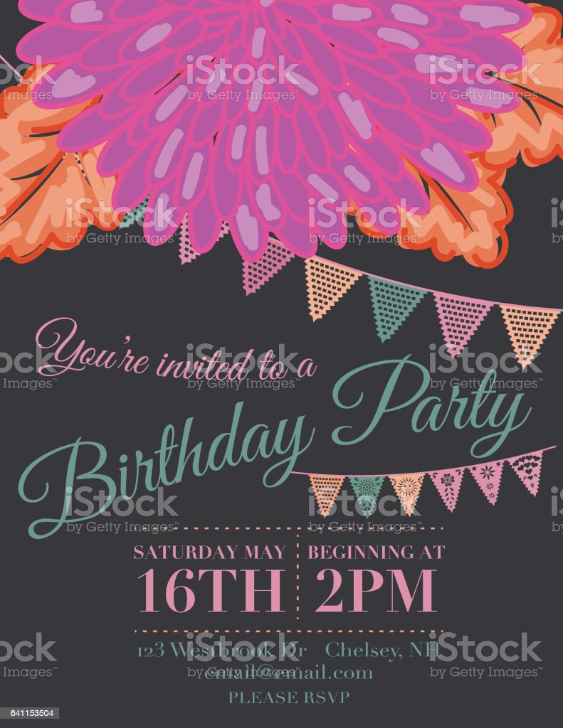 Chrysanthemum Papel Picado Flags Birthday Invitation Template Lizenzfreies Stock