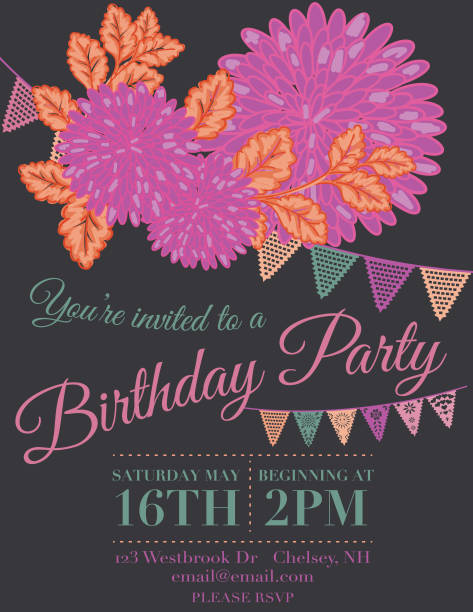 Girly Birthday Invitations Backgrounds Clip Art Vector Images Illustrations
