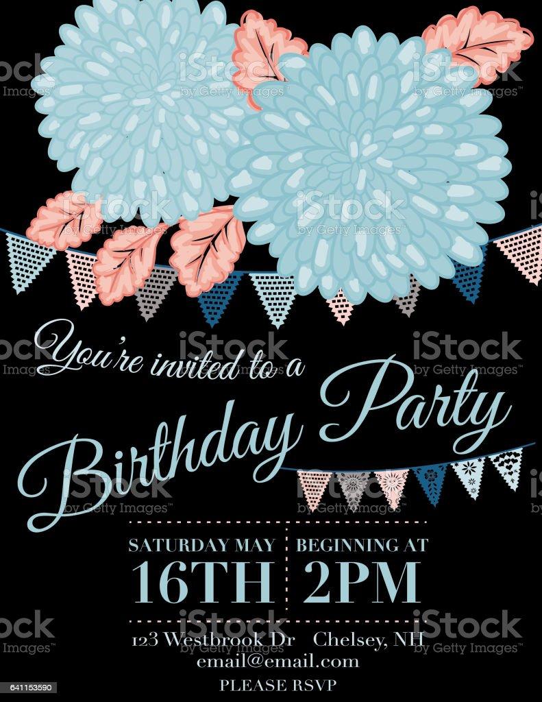 chrysanthemum papel picado flags birthday invitation template
