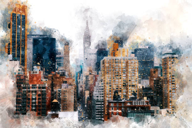 chrysler building and lexington avenue - modern art stock illustrations