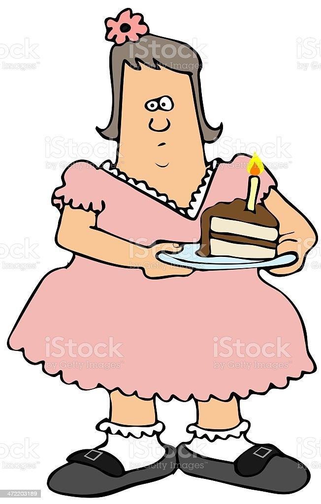 Chubby Girl Eating Birthday Cake Stock Vector Art More Images of