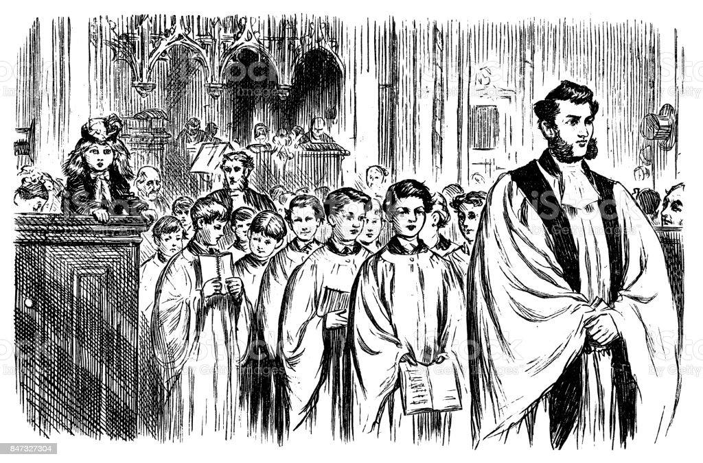 Church Choir vector art illustration