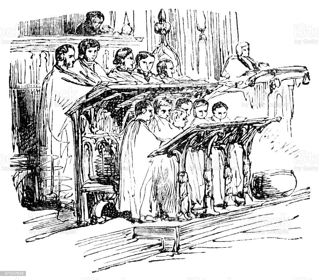 Church choir - Victorian illustration royalty-free stock vector art