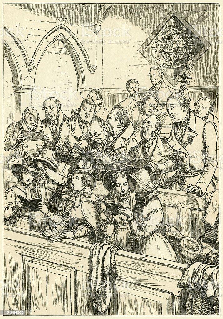Church congregation singing Christmas carols vector art illustration