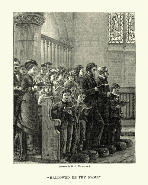 Church congregation singing Hallowed be thy name, Victorian 1870s, 19th Century vector art illustration