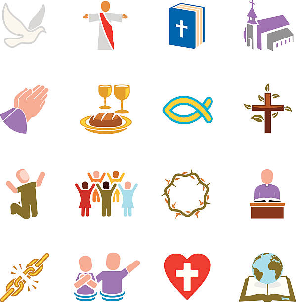 kirche symbole - kreuzkette stock-grafiken, -clipart, -cartoons und -symbole
