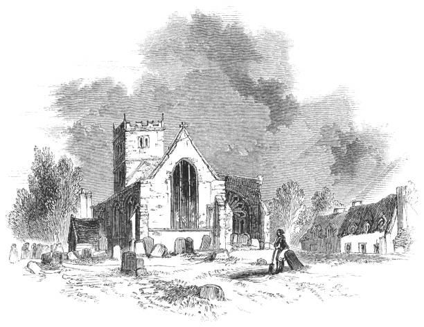 Church of St John the Baptist in Aston Cantlow, England vector art illustration