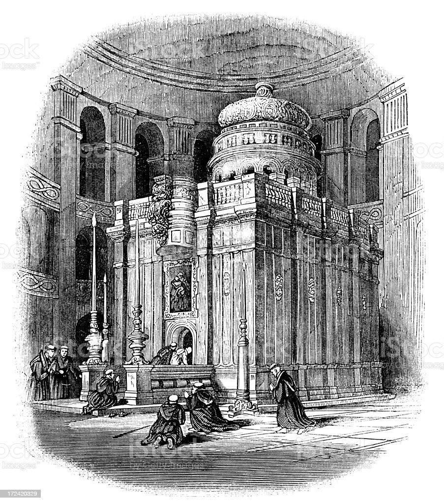 Church of the Holy Sepulchre, Jerusalem (Victorian woodcut) vector art illustration