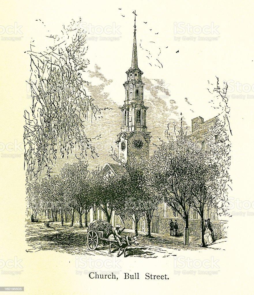 Church on Bull Street, Savannah royalty-free stock vector art
