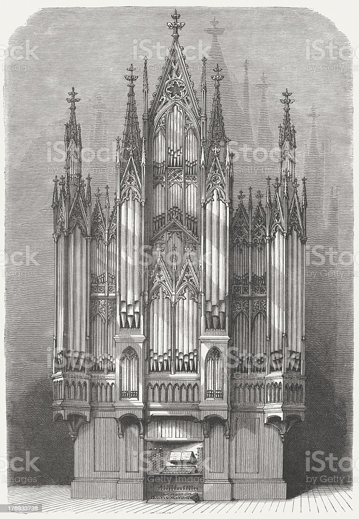 Church organ in Schwerin Cathedral, Germany, wood engraving, published 1871 royalty-free stock vector art