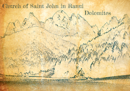 Church St. Johann in Ranui, Dolomites, sketch on old paper