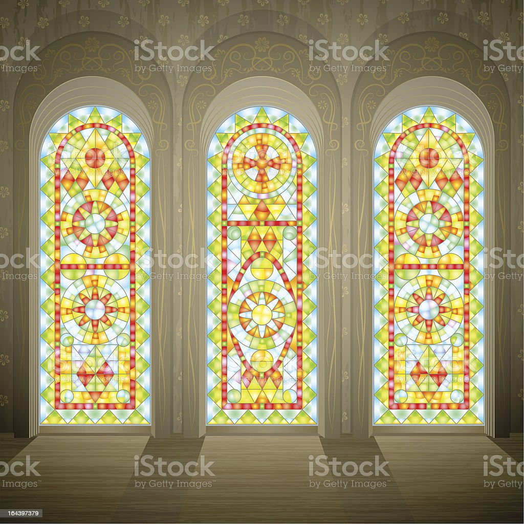 Church wall with three gothic stained glass windows vector art illustration
