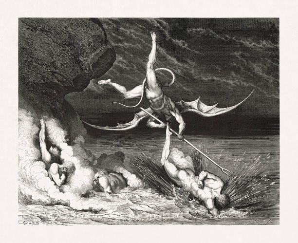 Ciampolo escaping the demon Alichino from Dante's Inferno vector art illustration