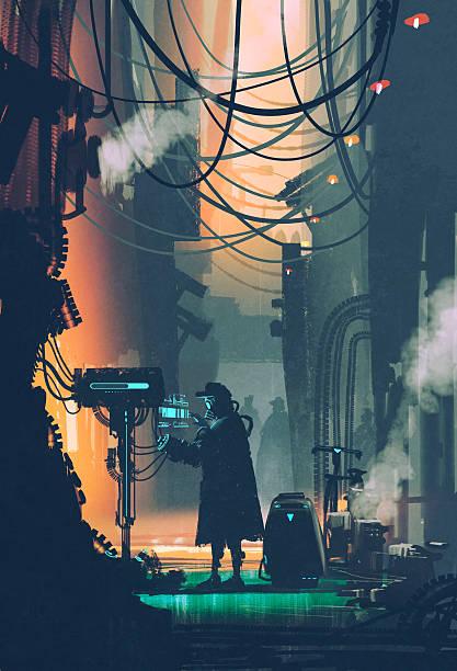 bildbanksillustrationer, clip art samt tecknat material och ikoner med ci-fi scene of robot using futuristic computer in city street - gränd