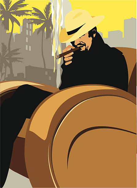 stockillustraties, clipart, cartoons en iconen met cigar room - guy with cigar
