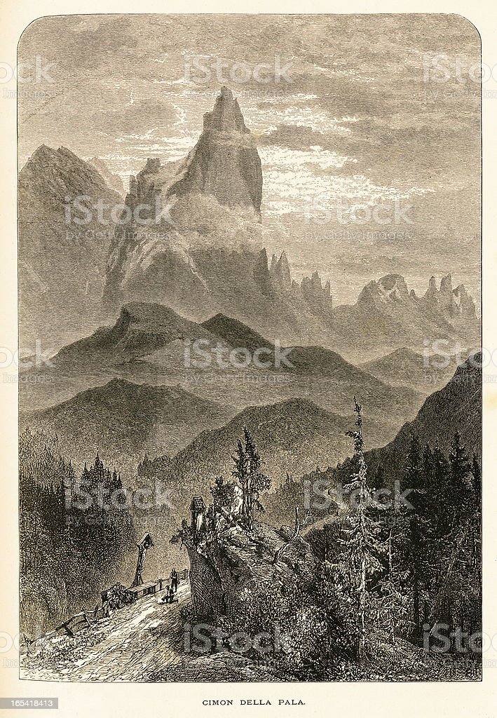 Cimon della Pala, Italy (antique wood engraving) royalty-free stock vector art