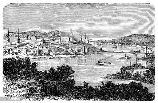Steel engraving of Cincinnati is a city in Ohio, on the Ohio River. Original edition from my own archives Source :