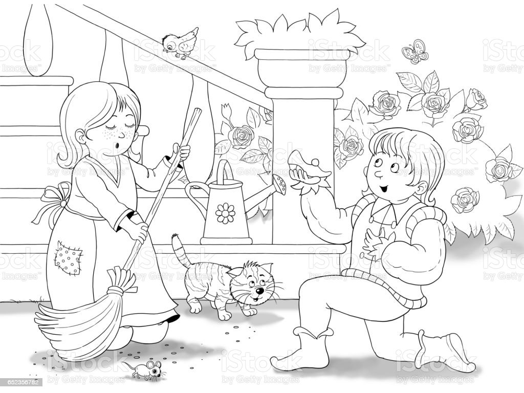 Cinderella Fairy Tale Illustration For Children Coloring Page Cute