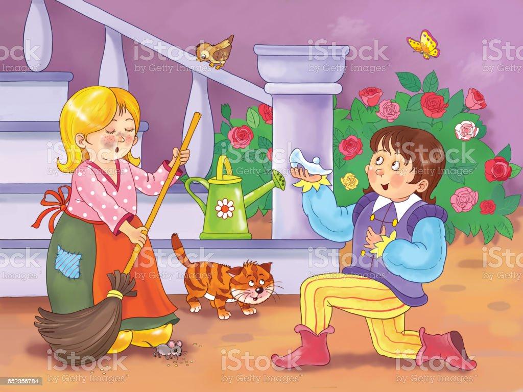 Kleurplaten Assepoester Sprookje.Assepoester Sprookje Illustratie Voor Kinderen Kleurplaat Leuke En