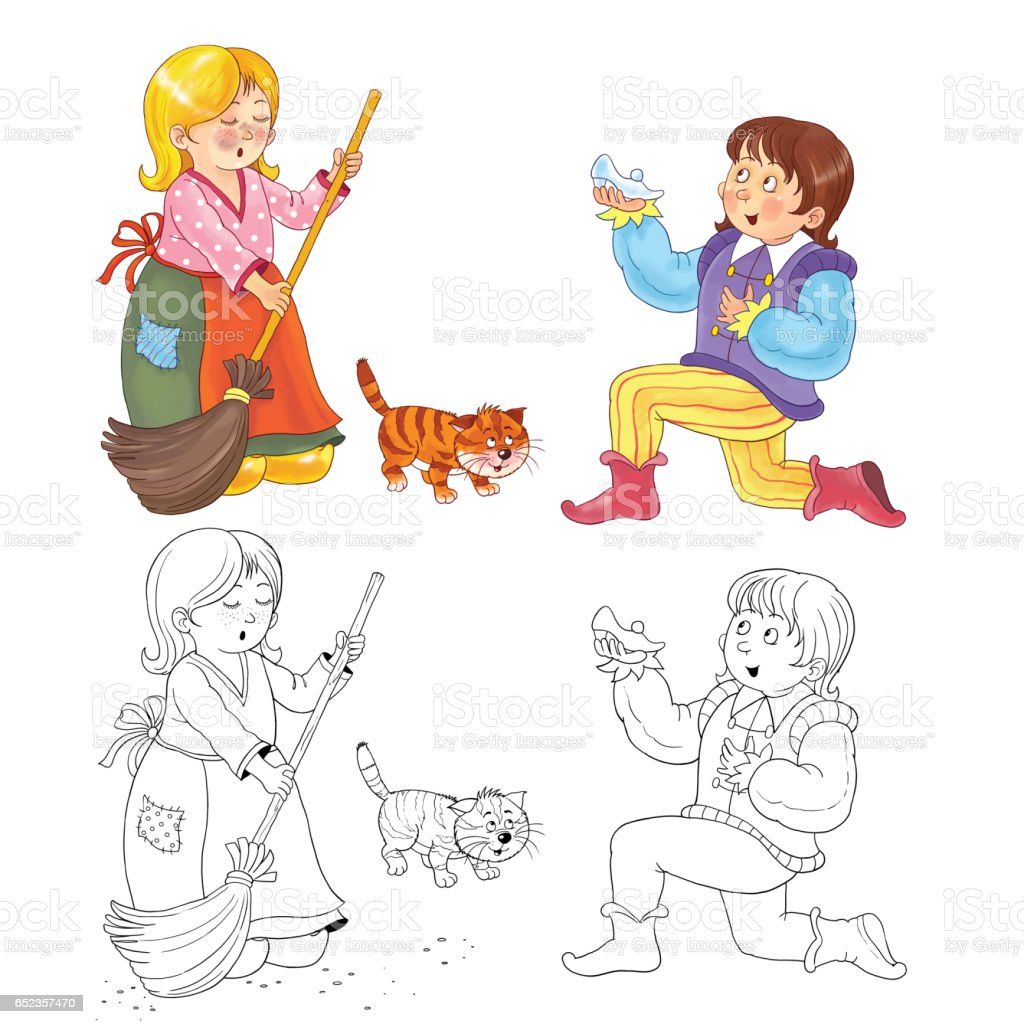 Cenicienta Cuento De Hadas Ilustración Para Los Niños Página Para ...