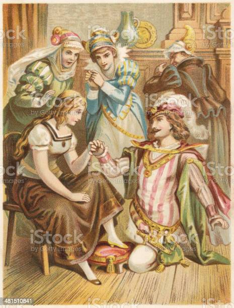 Cinderella Lithograph Published In 1873 Stock Illustration ...