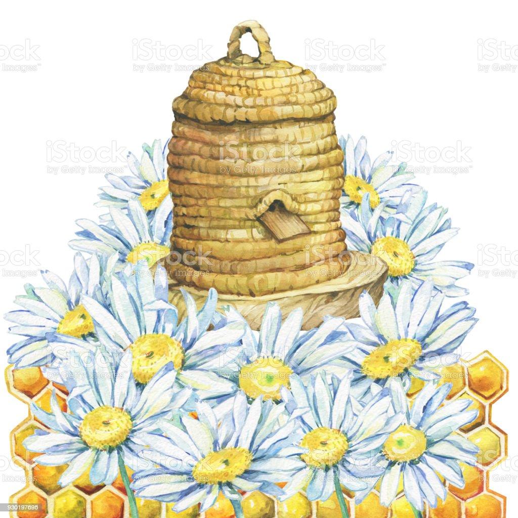 Kreis Honig Haus Bienenstock. Bienenstock, Korb Korbwaren Aus Stroh Und  Teil Der Wachs Waben
