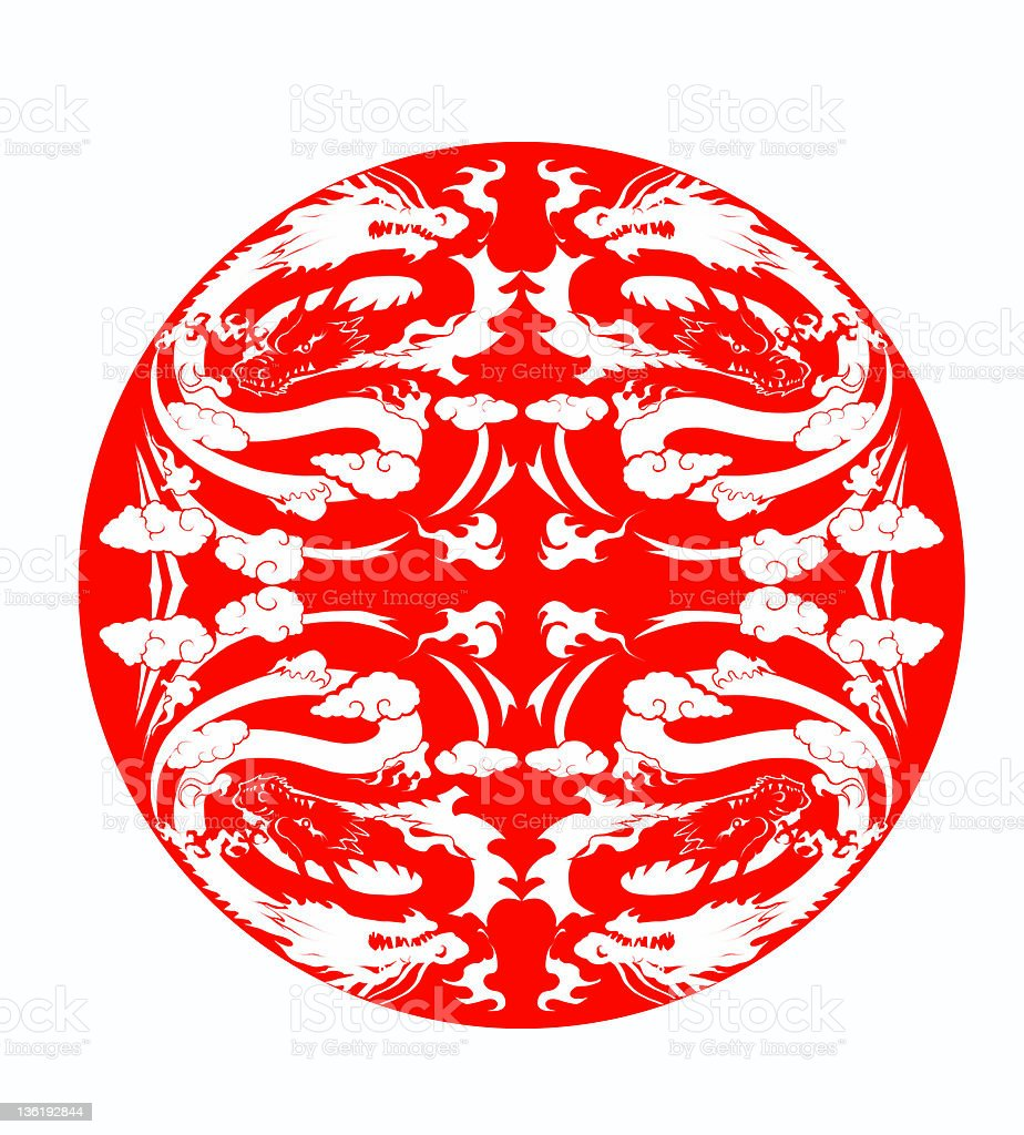 Circle on which the dragon was painted  (symmetrical) royalty-free stock vector art