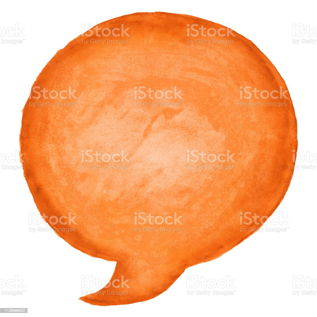Circle speech bubble symbol with orange watercolor paint texture isolated on white background. vector art illustration