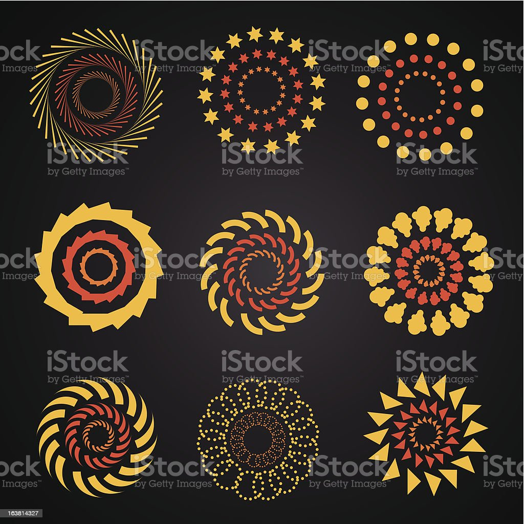 Circles and rosettes royalty-free stock vector art