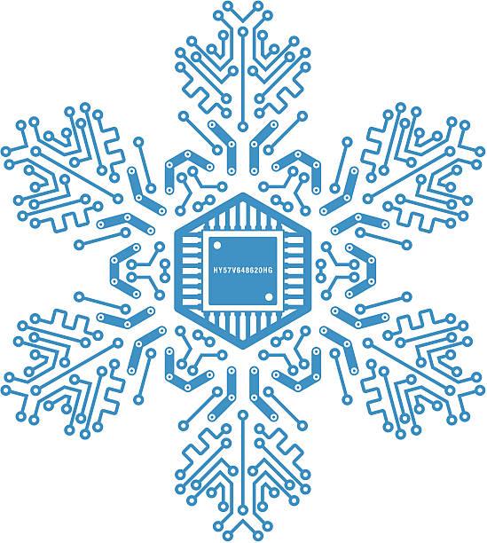 Circuit board snowflake vector art illustration