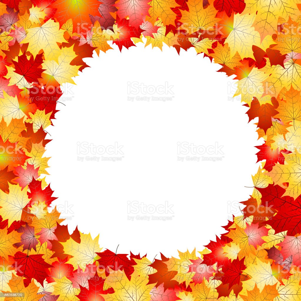 Circular flame made with leaves vector art illustration