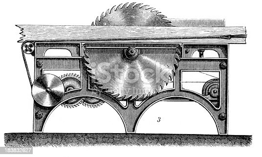 Vintage engraving from 1860 of a industrial revolution era Circular saw. The circular saw is a metal disc or blade sometimes with saw teeth on the edge as well as the machine that causes the disk to spin. It is a tool for cutting wood or other materials and may be hand-held or table-mounted.
