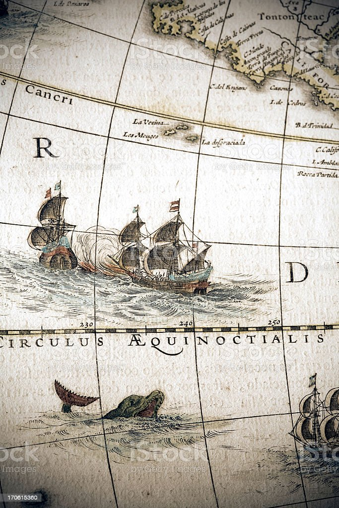 circulus aequinoctalis, historical map showing the equator and sailing ships vector art illustration