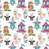 Circus characters  vintage watercolor drawing seamless pattern  illustration