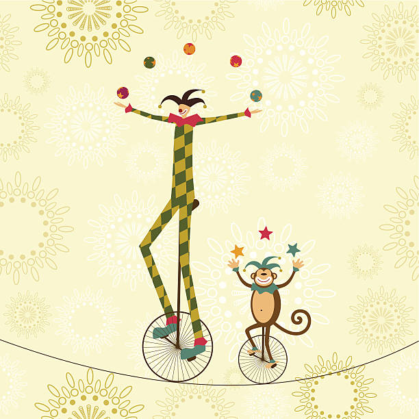 Circus harlequin and monkey juggling show vector art illustration