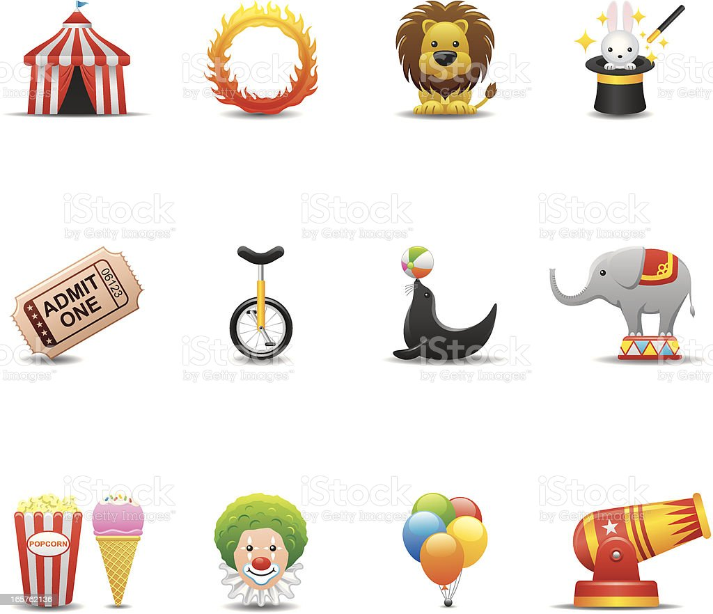Circus Icon Set | Elegant Series vector art illustration