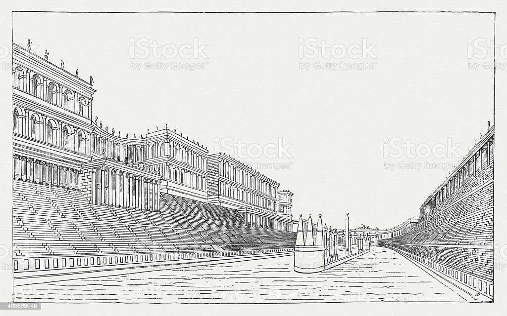 Circus Maximus in ancient Rome, published in 1878 vector art illustration