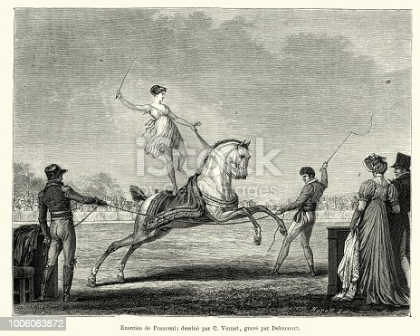 Vintage engraving of a Circus performer riding on back of a horse, Paris, early 19th Century.  Exercice de Franconi