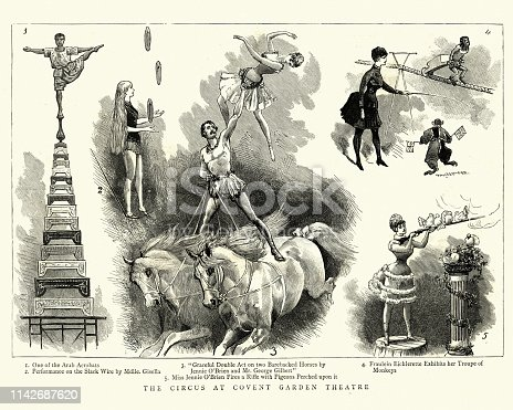 Vintage engraving Circus performers at Covent Garden Theatre, Victorian, 19th Century, 1886. Arab acrobat, Mdlle Gisella on the Slack wire, performers on barebacked horses, Fraulein Eichlerette and her troupe of monkeys. Miss Jennie O'Brian fires a rifle with pigeons