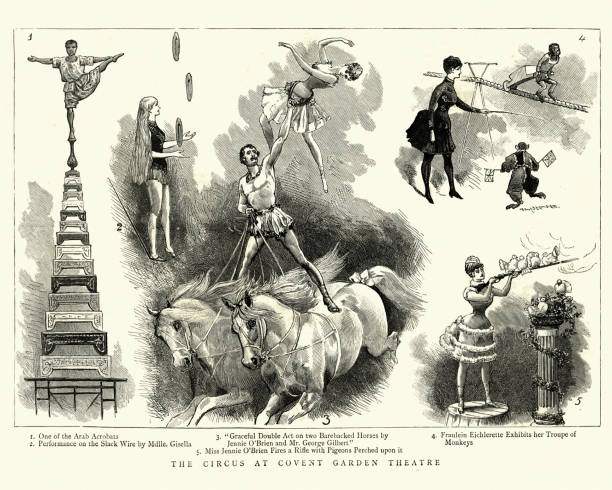 Circus performers at Covent Garden Theatre, Victorian, 19th Century vector art illustration