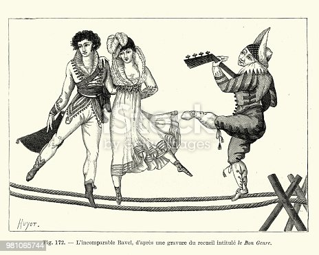 Vintage engraving of Le Bon Genre / L'incomparable Ravel, a couple of circus performers dancing on a rope, accompanied by a clown playing a lute