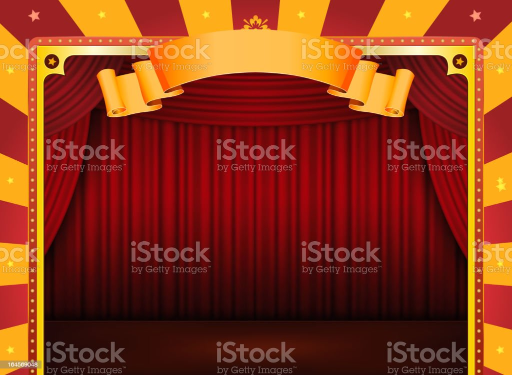 Circus Poster With Stage And Red Curtains royalty-free stock vector art