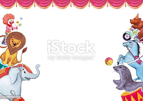 Circus, show, performance. Watercolor illustration with funny animals and artists, templatefor poster, banner, card. Isolated on white background.