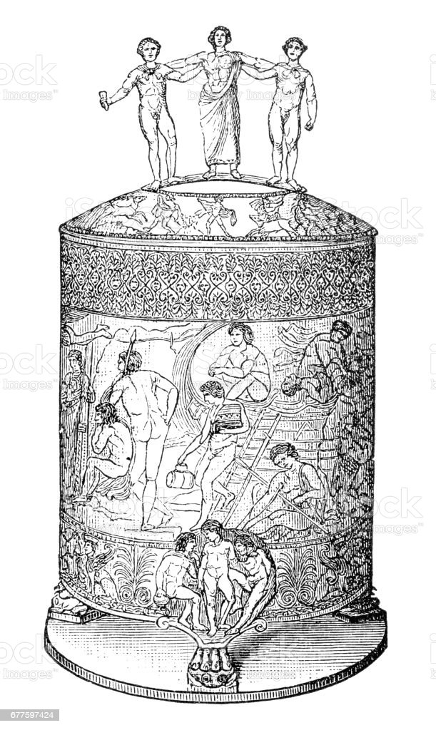 Cista Ficoroni (ritual vessel) royalty-free cista ficoroni stock vector art & more images of 4th century bc
